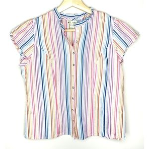 Anthro Odille Rainbow Striped Blouse - 4
